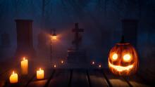 Halloween Scene With Haunted Moonlit Tombstones And Pumpkin Lantern.