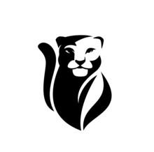 Snow Leopard Or Wild Puma Black And White Vector Outline Portrait - Animal Head Simple Monochrome Design