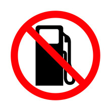Forbidden No Fuel Station Or No Gas Pump Prohibition Red Circular Road Sign For Your Web Site Design, Logo, App, UI. Illustration