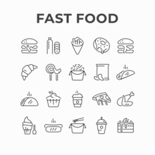 Fast Food Meals And Drinks Icon Design. Unhealthy Food Products Restaurant Vector Icons. Junk Food Menu, Dish, Lunch Including Burger, French Fries, Pizza, Sweets