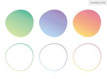 不規則な形の円、ゆるい円形、丸型、背景素材のイラストセット グラデーションバージョン