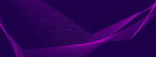 Violet Glowing Neon Curved Lines Abstract Minimal Background. Technology Vector Banner Design
