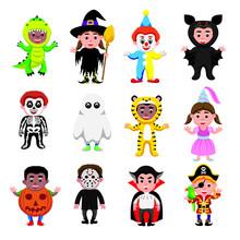Cartoon Illustration Set Of A Children Wearing Halloween Costumes