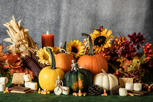 Fall Decoration With Pumpkins Marshmallows Candy Corn And Skeleton Figures