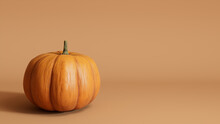 Contemporary Autumn Wallpaper With Pumpkin On Warm Brown Background.
