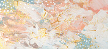 Art Abstract  Acrylic And Watercolor  Smear Blot Painting. Beige, Pink And Gold Color Canvas Texture Horizontal Background.