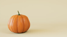 Seasonal Background Wallpaper With Copy-space. Pumpkin On Cream Color. Fall Concept.
