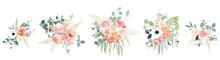 Peachy Pink Roses, Ranunculus, White Anemone, Dried Protea, Dahlia Vector Design Bouquets.
