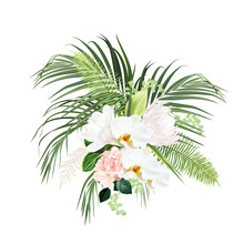 Tropical Flowers And Leaves Vector Design Bouquet
