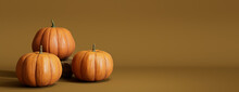 Contemporary Autumn Banner With A Collection Of Pumpkins On Deep Yellow Background.