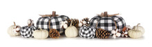 Modern Farmhouse Autumn Decor. Border With Black And White Buffalo Plaid And White Pumpkins With Brown Decor Isolated On A White Background.