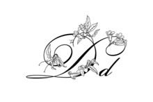 Floral Font. Letter D With Campsis Flowers. Wonderful Flora Letter For Unique Spring Or Summer Design. Tattoo. Isolated.
