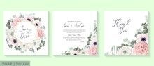 Vector Floral Frame. Template For Invitation Or Greeting Card. Pink And White Roses, Rununculus, Anemones, Eucalyptus, Green Plants And Leaves.