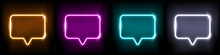 Neon Speech Chat Bubble Set, Message Sign With Glowing Neon Frame Border, Retro Cloud