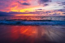Sunset Ocean Seascape Wave