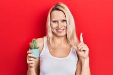 Beautiful Caucasian Blonde Woman Holding Small Cactus Pot Smiling With An Idea Or Question Pointing Finger With Happy Face, Number One