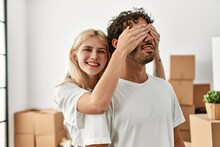 Woman Surprising Hes Boyfriend Covering Eyes At New Home.