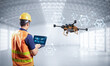 Leinwandbild Motiv Engineer with delivery drone