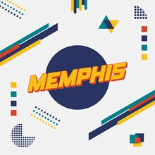 Futuristic Poster Of Memphis, America Combines With Random Element On Top Of Blue Circle