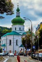 KYIV, UKRAINE - AUGUST 18, 2021: Church Of St. Nicholas Pritisk (Church Of St. Nicholas The Wonderworker Pritisk) - The Church Of The Orthodox Church Of Ukraine, An Architectural Monument