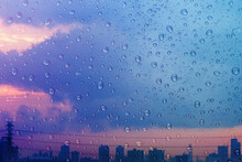 Rainy Day In City During Twilight. Focused On Droplet. Water Texture Background, Rain Drops On Glass Window