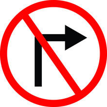 IT IS FORBIDDEN TO TURN RIGHT SYMBOL