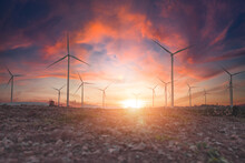 Wind Turbines Are Alternative Electricity Sources, The Concept Of Sustainable Resources, Beautiful Sky With Wind Generators Turbines, Renewable Energy