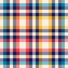 Tartan Plaid Pattern In Colorful Blue, Red, Yellow, Beige. Seamless Vichy Gingham Check Vector For Flannel Shirt, Dress, Jacket, Skirt, Scarf, Other Spring Summer Autumn Winter Fashion Fabric Design.