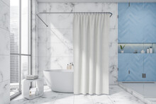 White And Blue Bathroom With Two Tone Tiles