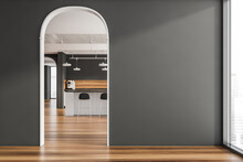 Archways Between Areas And Stylish Grey Kitchen