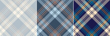 Check Plaid Pattern Set In Blue, Beige, Brown, Yellow, Navy Blue. Seamless Textured Spring Summer Autumn Winter Tartan Background Vector For Flannel Shirt Or Other Modern Fashion Textile Print.