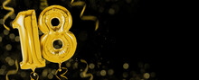 Golden Balloons With Copy Space - Number 18