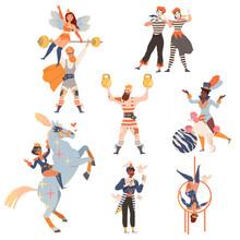 Circus Artists Performing At Show, Carnival Party Set. Magician, Mime, Strongman, Acrobat Doing Tricks Cartoon Vector Illustration