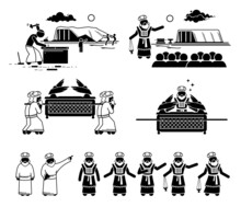 Ark Of The Covenant Construction And Christian High Priest Pictogram And Icons. Vector Illustrations Of The Ark Of Covenant From Hebrew Bible With People Building And Carrying It.