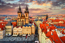 Sunset View Of Prague Old Town Square And Church Of Mother Of God Before Tyn In Prague. Czech Republic. Architecture And Landmark Of Prague.