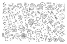 Black And White Childs Drawing. Large Collection Of Simple Icons, Various Items. Rocket, Bear, Kite, Boy, Girl, Sweet, Sheep, Car. Cartoon Flat Vector Illustration Isolated On White Background