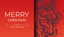 Brochure Merry Christmas And Happy New Year Red Color With Vintage Burgundy Ornament