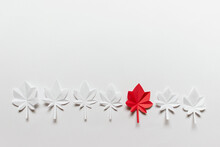 Background With A Row Of Colorful Paper Folded Origami Maple Leaves Arranged According Color Scheme