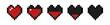 Pixel red heart, game life bar. Vector 8 bit, symbols set. Pixel art icons.