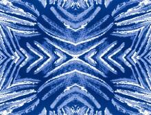 Animal Prints Seamless. Aquamarine Zebra Mouth. Turquoise Wavy Stripes Seamless Pattern. Mottled Pattern. Blue Zebra Stripe Background. Aquamarine Painting Animals.