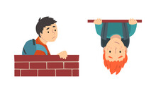 Boy With Backpack Looking Out From Brick Wall And Hanging Upside Down Vector Set