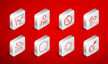 Set Line Comet Falling Down Fast, Drought, Compass, Meteorology Thermometer, Sun, Icicle, Moon And Water Drop Icon. Vector