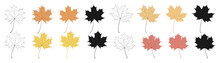Set Of Autumn Maple Leaves Isolated On White Background. Flat Style, Outline, Silhouette. Vector Elements For Design.