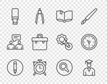 Set Line Pencil, Graduate And Graduation Cap, Open Book, Alarm Clock, USB Flash Drive, Briefcase, Magnifying Glass And Clock Icon. Vector