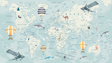 Childrens World Map With Animals, Balloons And Airplanes
