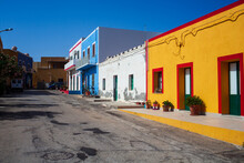 View Of A Typical Street Of Linosa With Colorful House
