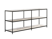 Modern Console With A Matte Black Iron Frame And White Marble Open Shelving. 3d Render