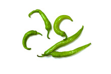 Isolated Photo Of Green Pepper On White Background