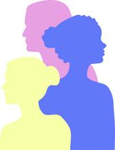 Vector, Tres Siluetas Multicolor, Personas, Diversidad, 8 Marzo, LGBT