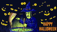 Halloween Vector Illustration. Witch Stirring Magic Spell On Cauldron Vector Illustration. Spooky Eyes At Night. Perfect For Banner, Template, Backdrop, Wallpaper, Flyer, Brochure, Poster, Background.
